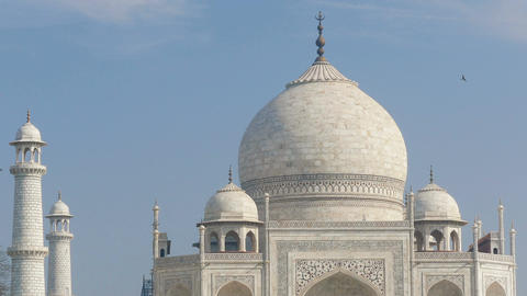 Taj Mahal India Minarets Blue Sky 4k Footage