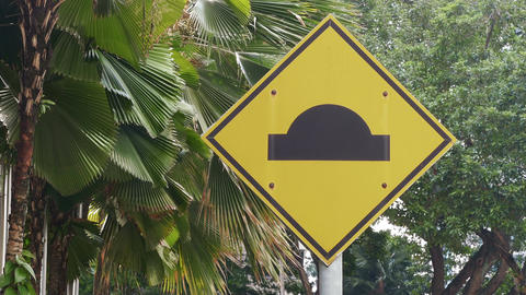 Road Sign Malaysia Palms 4k Filmmaterial