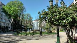 Spain Galicia City of Vigo 006 city park with fountain, lantern and trees Footage