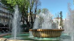 Spain Galicia City of Vigo 008 beautiful fountains in city park Footage