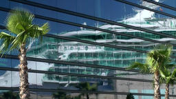 Spain Galicia City of Vigo 018 cruise ship mirror image in glass facade Footage