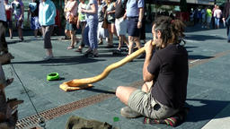Spain Galicia City of Vigo 019 street musician with Australian didgeridoo Footage