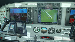 The dashboard, cockpit of the airplane Cessna 208B Grand Caravan Footage