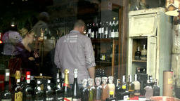 Spain Galicia City of Vigo 026 clients in a wine store of old town Footage