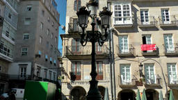Spain Galicia City of Vigo 027 old iron lantern in front of old facade Footage