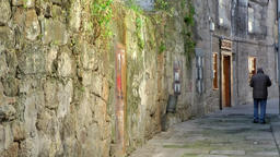 Spain Galicia City of Vigo 031 man in an old alley with overgrown stone wall Footage