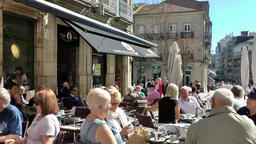 Spain Galicia City of Vigo 036 street café on public square of old town Footage