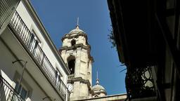 Spain Galicia City of Vigo 038 church tower behind house with balconies Footage