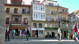 Spain Galicia City of Vigo 042 row of typical old houses on public square Footage