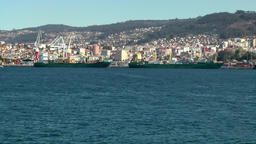 Spain Galicia City of Vigo 049 cityscape and surrounding nature from seaside Footage