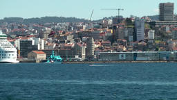 Spain Galicia City of Vigo 052 moving along the cityscape by ship Footage
