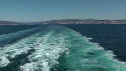 Spain Galicia City of Vigo 057 giant stern wave and landscape seen from seaside Footage