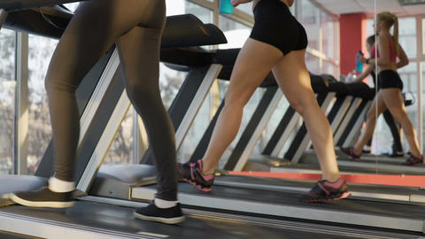 Fit legs of beautiful young women exercising on treadmill in gym, healthy life Footage