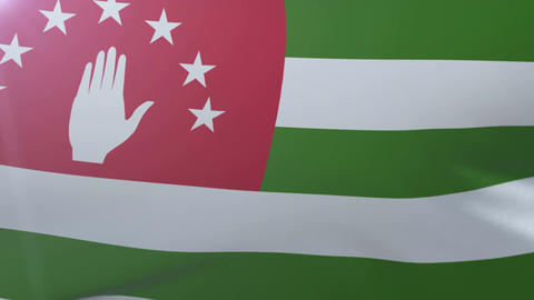Flag of Abkhazia waving on flagpole in the wind, national symbol of freedom Footage