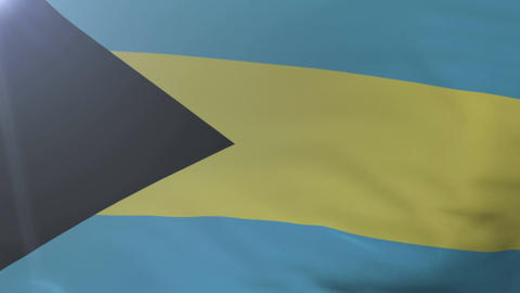 Flag of Bahamas waving on flagpole in the wind, national symbol of freedom Footage