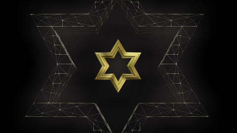 David star shape in wireframe render and gold design, seamless loop video, FullH Animation