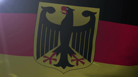 Flag of Germany waving on flagpole in the wind, national symbol of freedom Footage