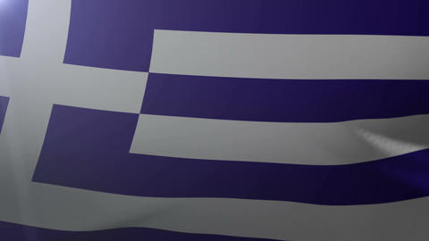 Flag of Greece waving on flagpole in the wind, national symbol of freedom Footage