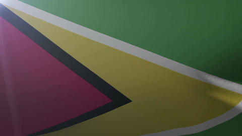 Flag of Guyana waving on flagpole in the wind, national symbol of freedom Footage
