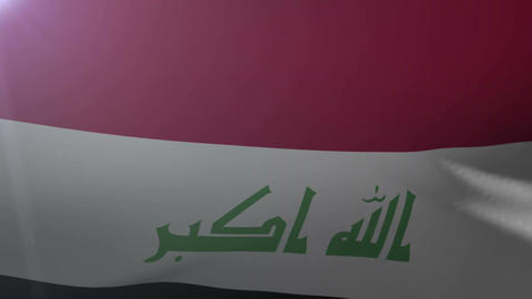 Flag of Iraq waving on flagpole in the wind, national symbol of freedom Footage