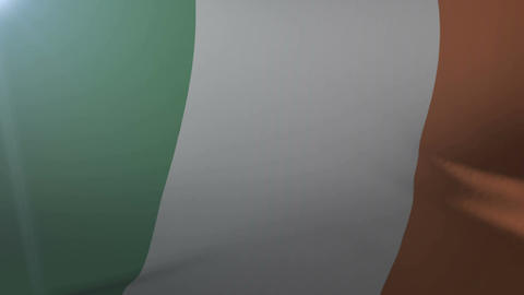 Flag of Ireland waving on flagpole in the wind, national symbol of freedom Footage