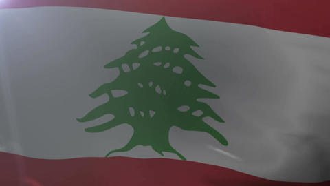 Flag of Lebanon waving on flagpole in the wind, national symbol of freedom Footage
