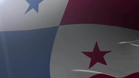 Flag of Panama waving on flagpole in the wind, national symbol of freedom Footage