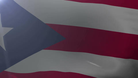 Flag of Puerto Rico waving on flagpole in the wind, national symbol of freedom Footage