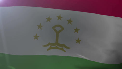 Flag of Tajikistan waving on flagpole in the wind, national symbol of freedom Footage