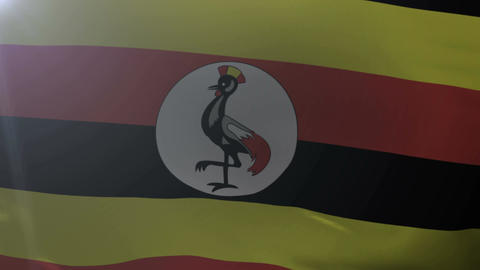Flag of Uganda waving on flagpole in the wind, national symbol of freedom ภาพวิดีโอ