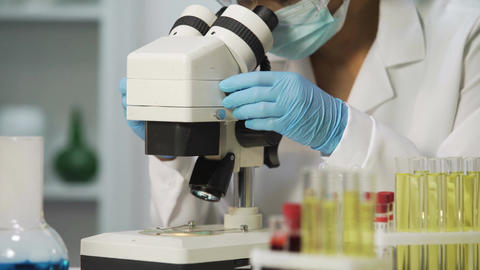 Professional bacteriologist viewing samples of bacteria on microscope, virology Footage
