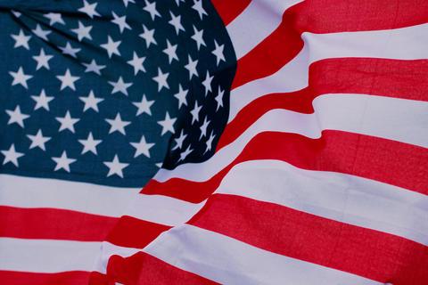 American flag in wind Fotografía