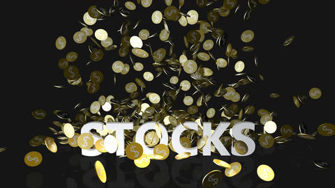Stocks Concept with Gold Coins Falling From the Sky Footage