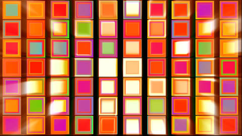 Colorful Red, Purple, Green, Orange, Yellow Squares with Light Rays Abstract Bac Animation