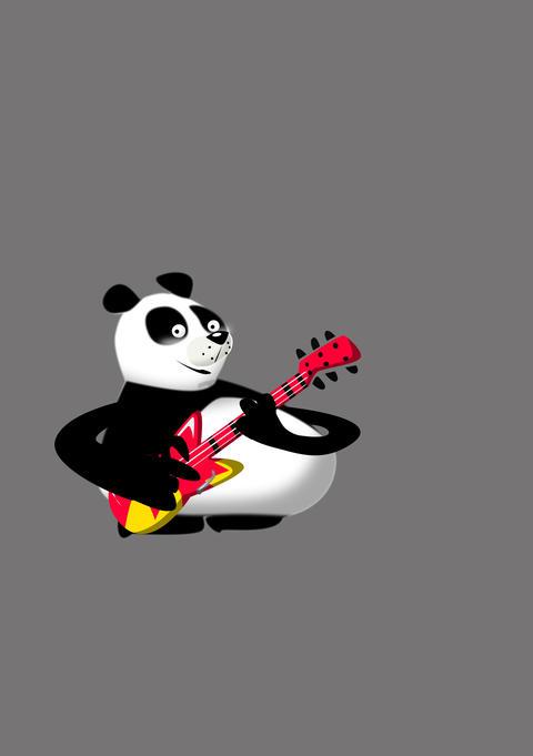Panda Rocks Guitar CG動画素材