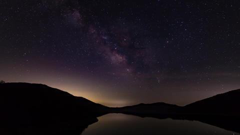 Night starry sky (Nozoriko lake) Milkey way Footage