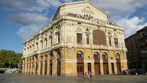 Back view of Teatro Arriaga opera house in Bilbao, neo-baroque architecture Footage