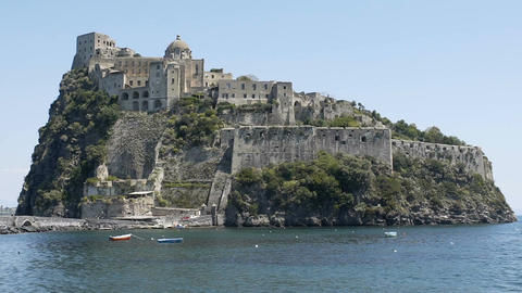 Majestic historical Aragonese Castle on volcanic island, tourist attraction Live Action