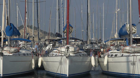 Recreational boats docked at yacht club, active leisure outdoors, sailing sport Footage