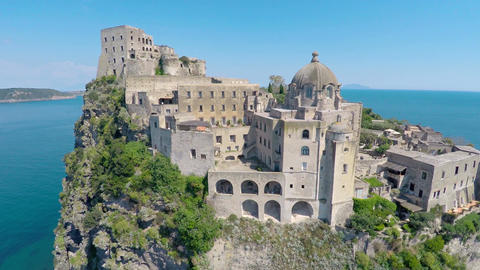 Amazing medieval castle on small island in blue Gulf of Naples, travel to Italy Footage
