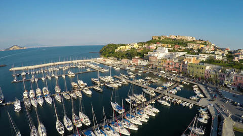 Beautiful Italian seaside town with colorful houses, summer vacation, aerial Footage