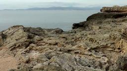 Spain Mallorca Island Cala Blava 001 rocky plateau at the shore Footage