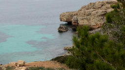 Spain Mallorca Island Cala Blava 013 rocky shore with pine tree Footage
