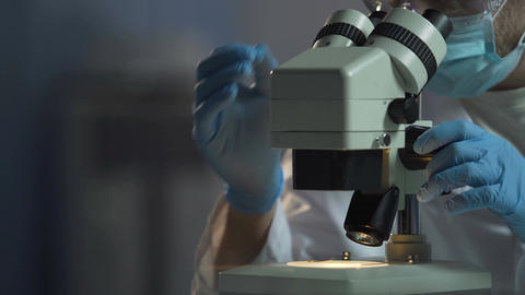 Scientist adjusts microscope to see cell molecular compound, microbiology Footage