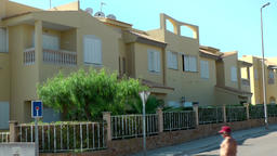 Spain Mallorca Island Cala Blava 022 modern sand colored spanish row houses Footage