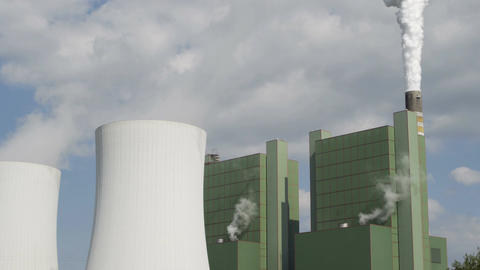 Industrial Cooling Tower Smoke Stack Long Wide Timelapse Footage