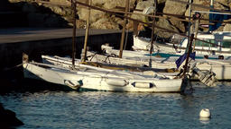 Spain Mallorca Island Palma Can Pastilla 004 small fishing boats, morning light Footage
