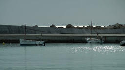 Spain Mallorca Island Palma Can Pastilla 011 fishing boats in glittering water Footage