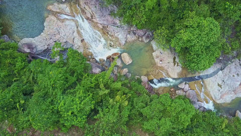 Flycam Rotates over Wonderful River with Cascades Footage