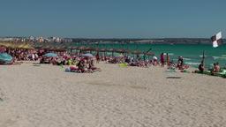 Spain Mallorca Island Playa de Palma 003 wide sandy beach area Footage
